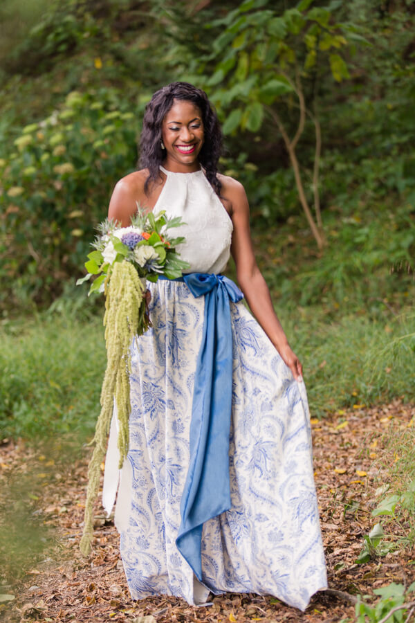 English Garden Wedding - bride in blue wedding separates