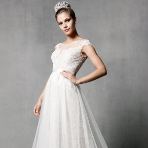 Watters Farah Tulle & Charmeuse Wedding Dress