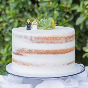 Intimate Palm Springs Destination Wedding - naked cake with succulent