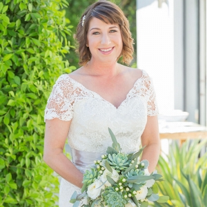 Intimate Palm Springs Destination Wedding - bride with greenery bouquet