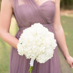 lavender bridesmaid dress and all white bouquet
