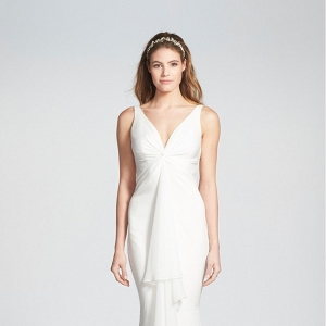 Twist Front Crêpe de Chine Mermaid Wedding Dress