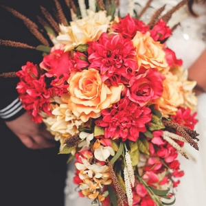 Red and Orange cascading bouquet