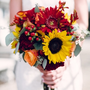 Rustic Tennessee Fall Wedding - Red Yellow Sunflower Fall Bouquet