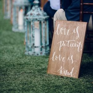 Aisle decor - love is patient love is kind bible verse signage