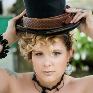 Steampunk Rustic Wedding Inspiration - bride with black hat