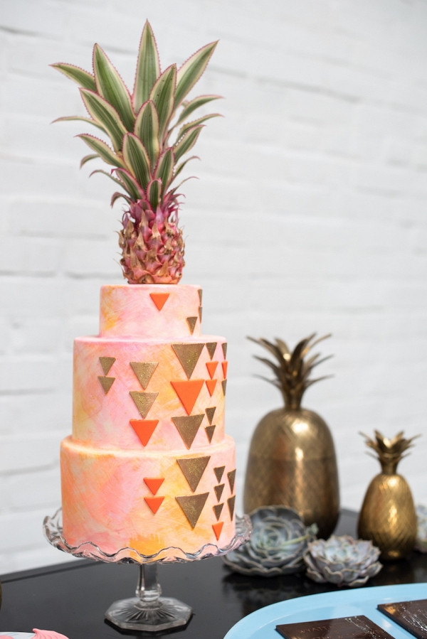geometric-cake-pineapple-cake-topper