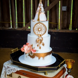 Metallic Cake with Teepee Topper
