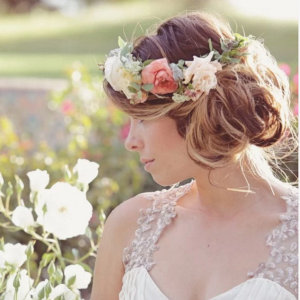 Flower Crown with Sideswept Bridal Hairstyle