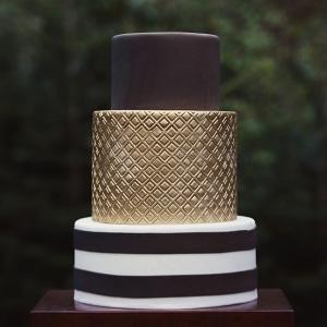 Metallic and Chocolate Wedding Cake