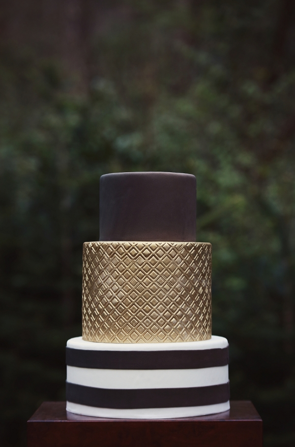 Metallic and Chocolate Wedding Cake