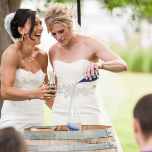 Sand Ceremony at a Vineyard Wedding