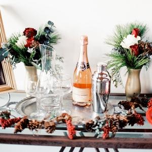 Christmas Wedding Bar Cart Decor Inspiration