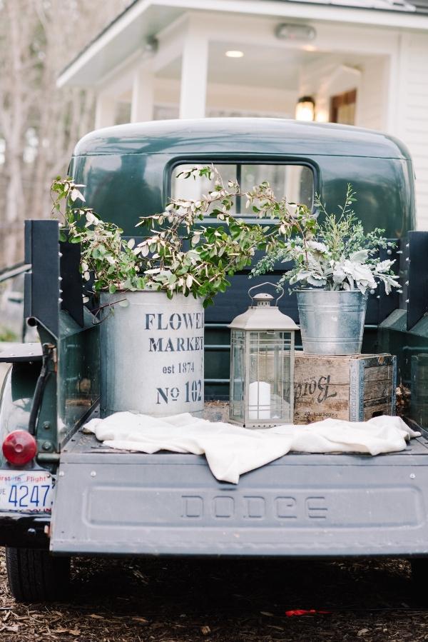 Vintage Truck Wedding Decor with Galvanized Buckets