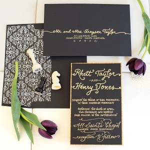 Gold Calligraphy Stationery Suite