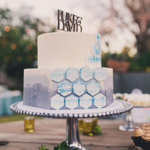 Geometric Ombre Wedding Cake