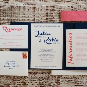 Navy and Pink Wedding Stationery Suite