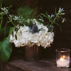 Blue Thistle and White Hydrangea Wedding Centerpiece