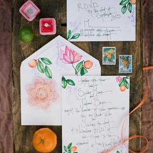 Florida Inspired Citrus Orange Themed Wedding Invitation Suite