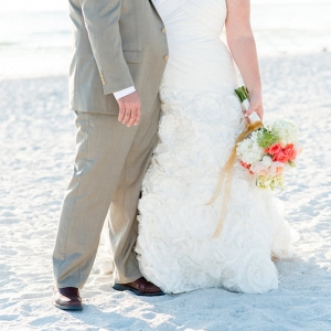 Waterfront, Outdoor Bride and Groom Wedding Portrait on St. Petersburg Beach