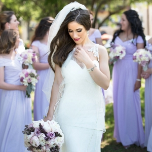 Outdoor, Bridal Wedding Portrait in White Wedding Dress and Veil and Bridesmaids in Purple, Lilic Bridesmaids Dresses