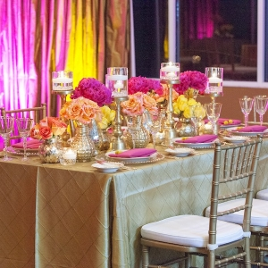 Pink and Yellow Wedding Centerpieces with Gold Chiavari Chairs and Linens Styled Indian Wedding Reception