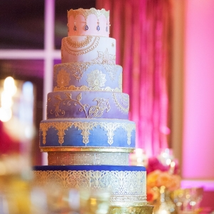 Purple and Blue Ombre Wedding Cake   Indian Wedding Reception