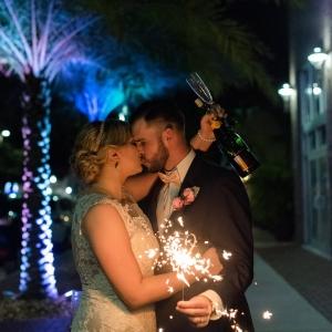 Outdoor, Nighttime Wedding Portrait with Sparkler | St. Pete Wedding Venue NOVA 535 | St. Petersburg Wedding Photographer Caroline & Evan Photography