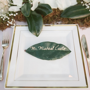 Rustic Wedding Table Setting and Name Card with Ivory Rose Petals, Baby's Breath and Greenery