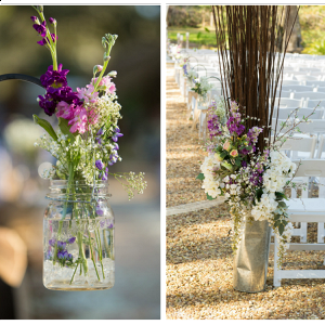 Wedding Ceremony Decor with Purple and Pink Flowers in Suspended Mason Jars and Tin Holders with Purple and Ivory Flowers and Wooden Sticks