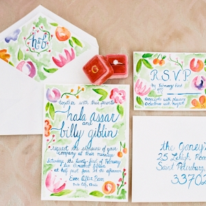 Pastel Pink, Orange, Green and Blue Floral Watercolor Invitation Suite