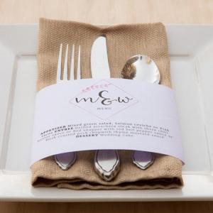 Wedding Menu printed on a napkin belly band