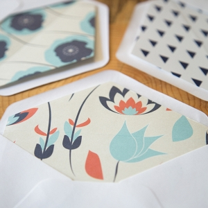 Modern orange and navy DIY envelope liners