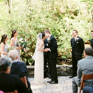 Outdoor woodland wedding ceremony in the Great Smoky Mountains National Park