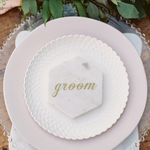 Pink Marble Groom place setting