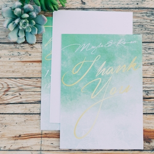 Whimsical mint and gold thank you card