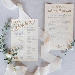ceremony programs from Mountainside Bride