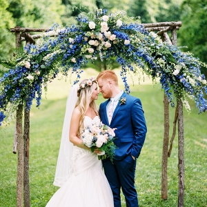 Romantic outdoor ceremony on Mountainside Bride