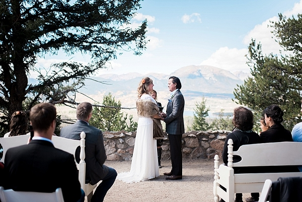 outdoor Breckenridge wedding ceremony on Mountainside Bride