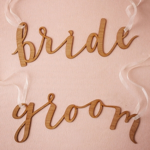 Calligraphy Wedding Chair Signs