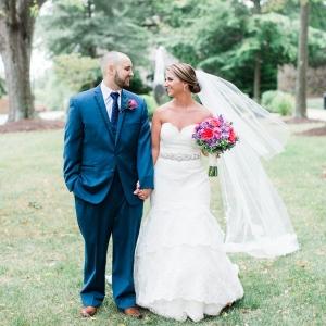 Classic outdoor bride and groom portrait