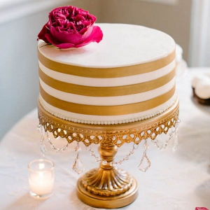 Gold striped wedding cake