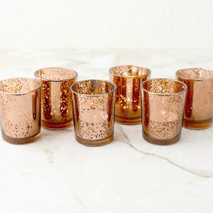 Copper Rose Gold Mercury Glass Candle Votive