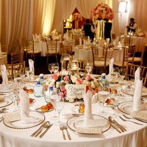 Glamorous destination wedding reception