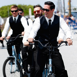 Groomsmen on bikes