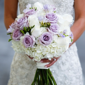 White and lavender wedding bouquet