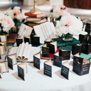 Mini book wedding decor