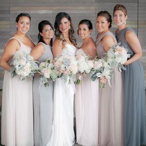 Mismatched neutral bridesmaid dresses