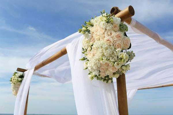 Breezy beach wedding arch