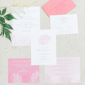 Coral themed wedding invitation suite